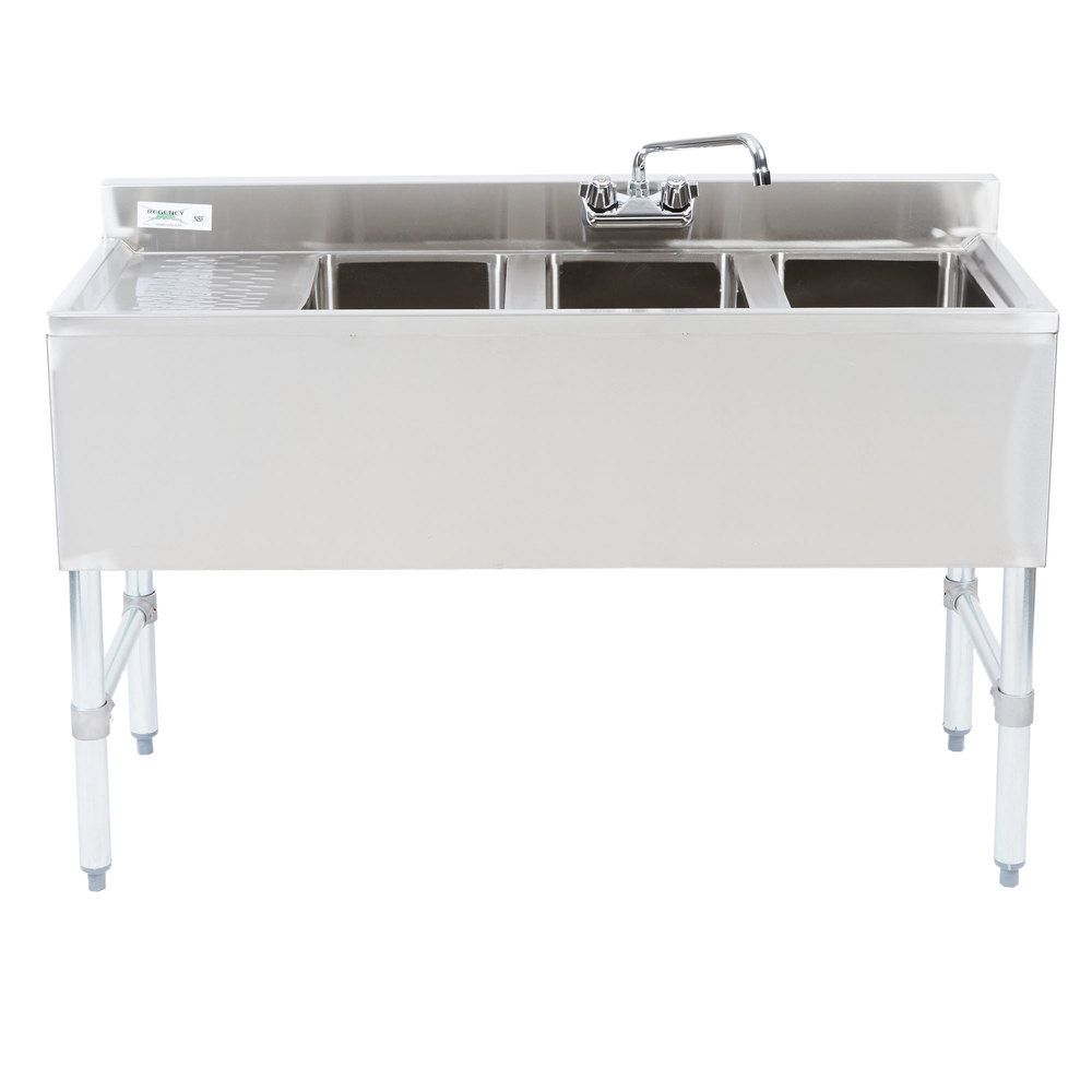 Left Drainboard Regency 3 Bowl Underbar Sink with Drainboard and Faucet - 48 inch x 18 3/4 inch
