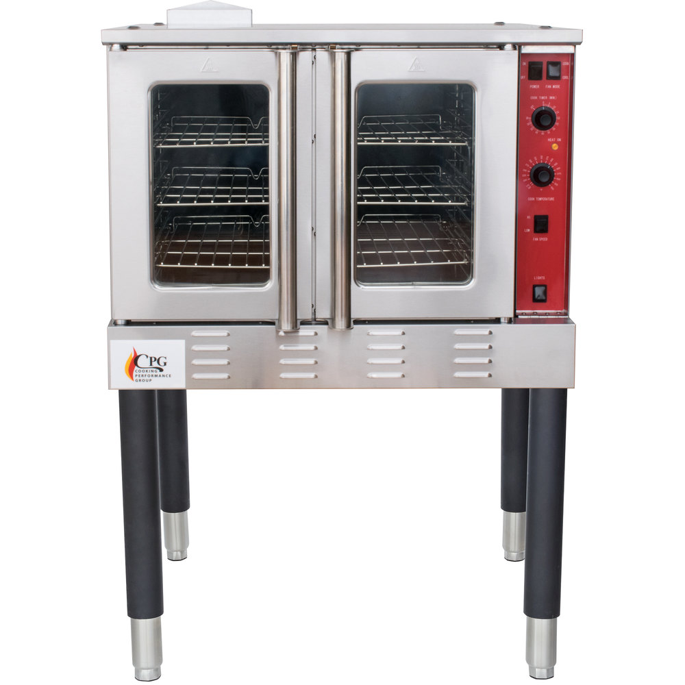 Natural Gas Cooking Performance Group FGC100N Single Deck Full Size Natural  Gas Convection Oven with Legs - 54,000 ...
