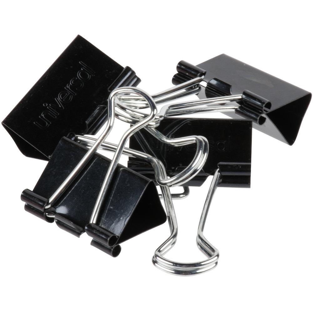 "Universal UNV10210 5/8"" Capacity Black Medium Binder Clip"