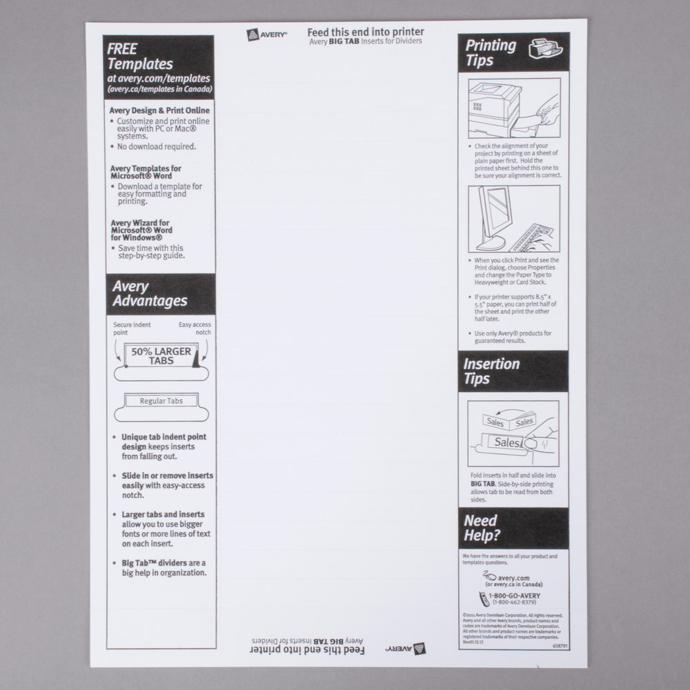 Avery 11122 big tab white paper 5 tab clear insertable for Avery print on tabs template