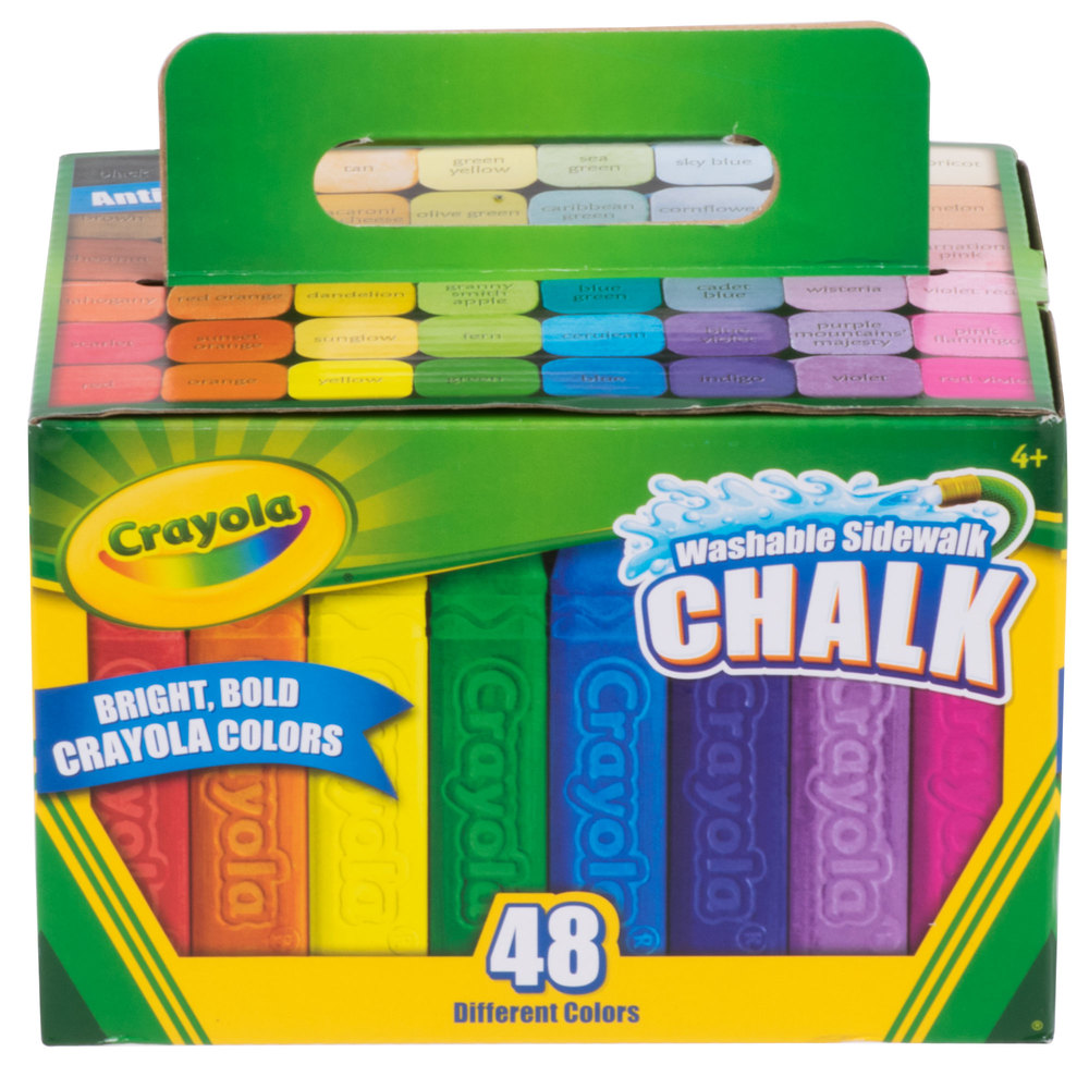 Crayola 512048 48 Assorted Bright Colors Washable Sidewalk Chalk ...