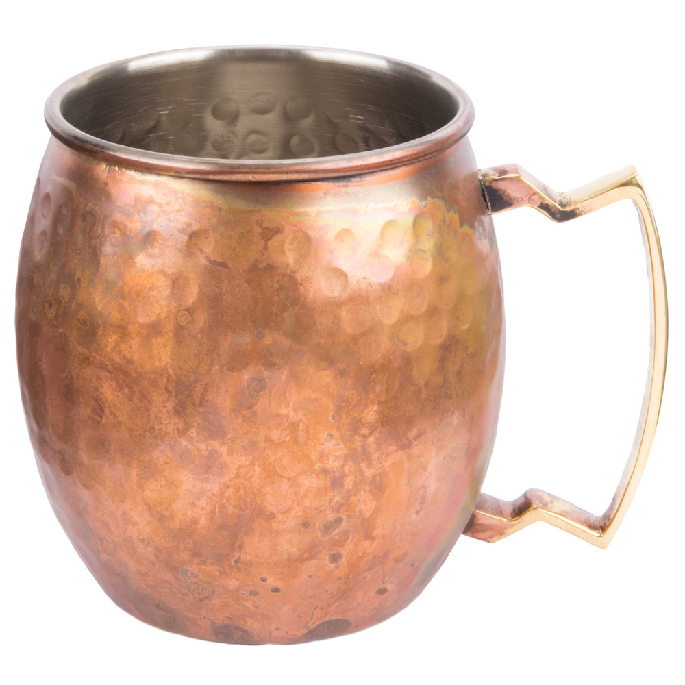 antique copper moscow mule mug with antique hammered copper finish main picture image preview - Copper Mule Mugs