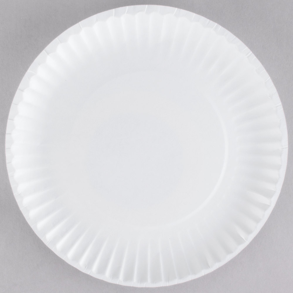 9 inch White Uncoated Paper Plate - 100/Pack ... & Paper Plates | Disposable Paper Plates | WebstaurantStore