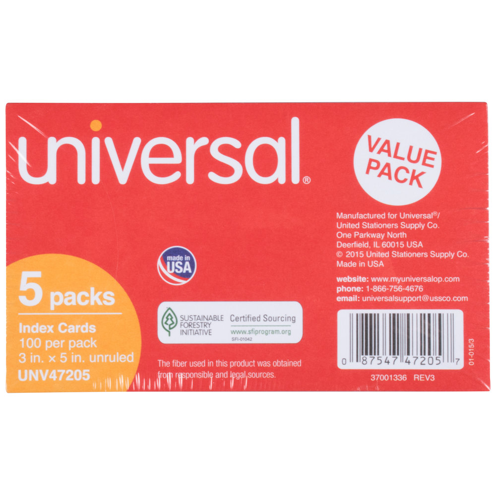 "Universal UNV47205 3"" x 5"" White Unruled Index Card - 500/Pack"