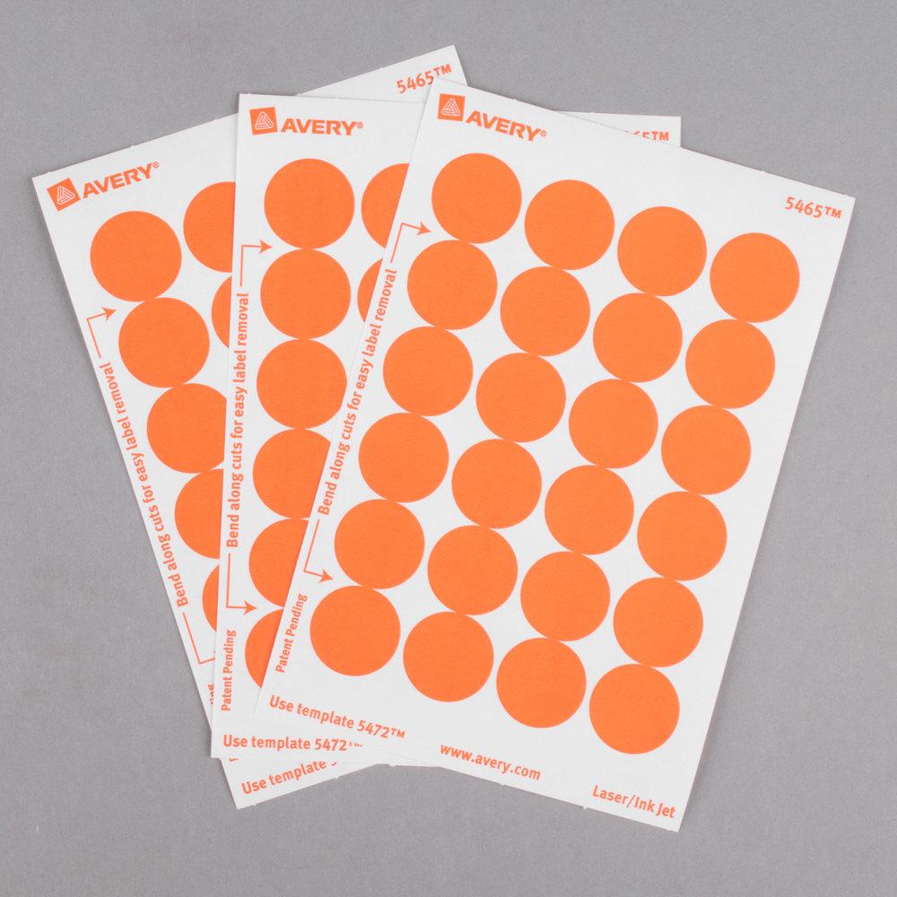 "Avery 5465 3/4"" Orange Round Removable Write-On"
