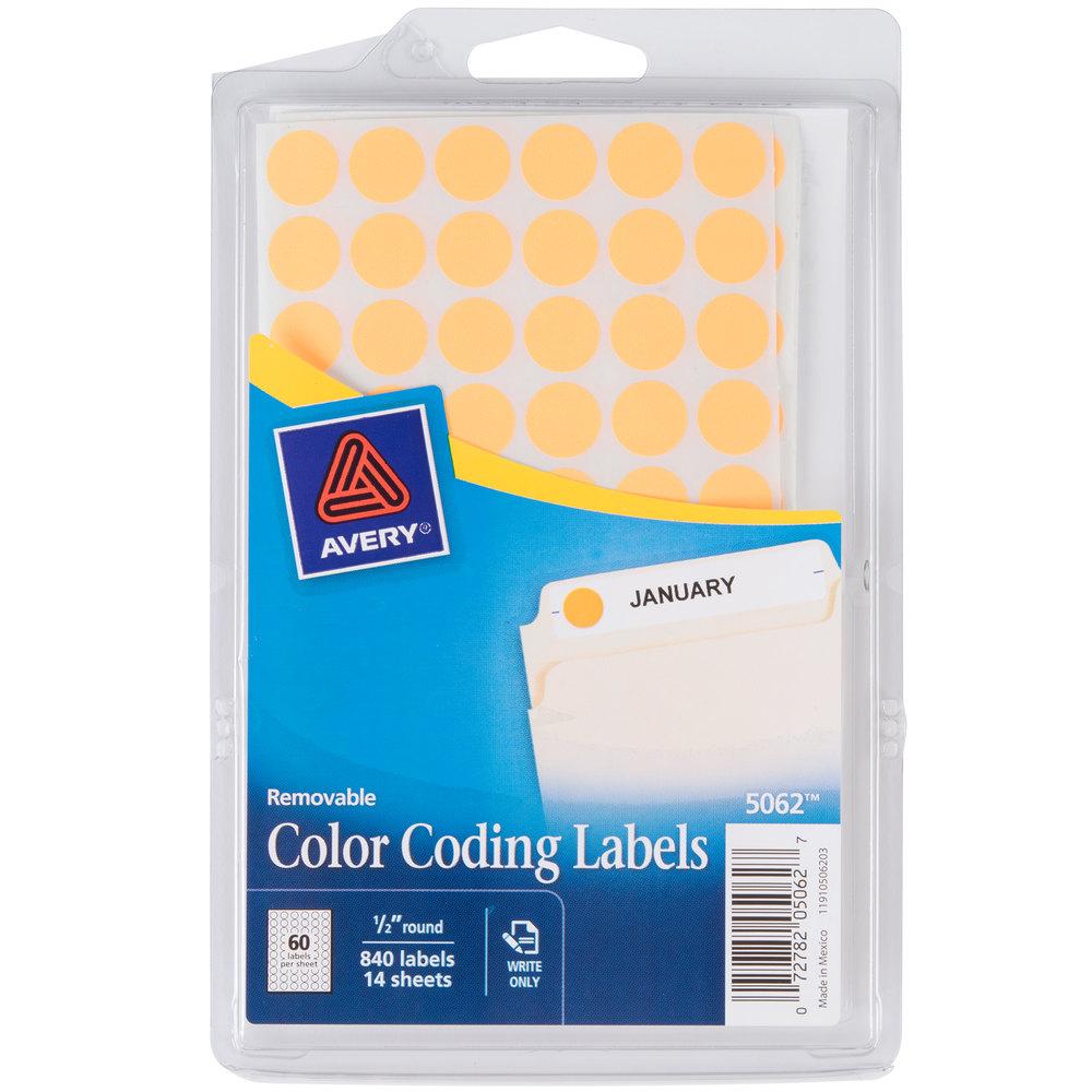 "Avery 05062 1/2"" Neon Orange Round Removable Color Coding"