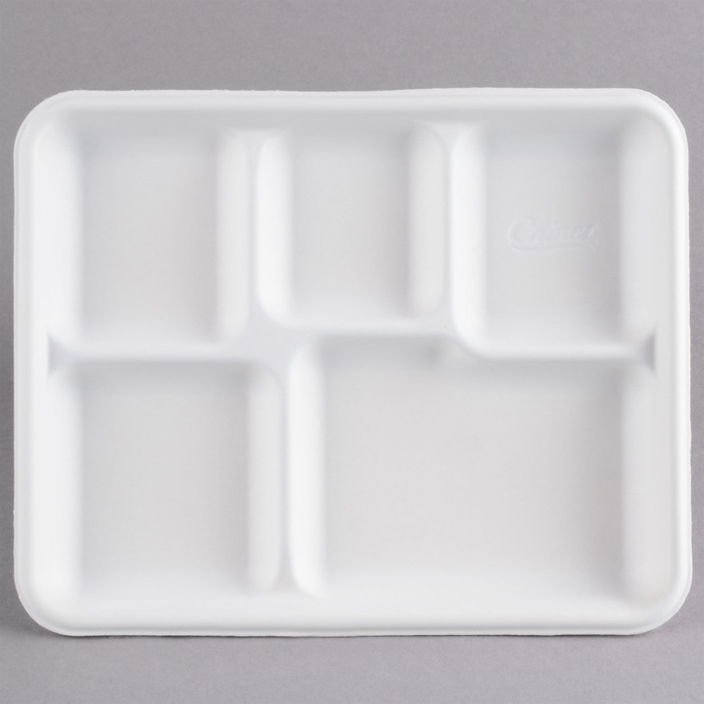 Huhtamaki Chinet 22025 10 1/2 inch x 8 1/2 inch White Molded ... & Foam Lunch Trays | Foam Compartment Trays