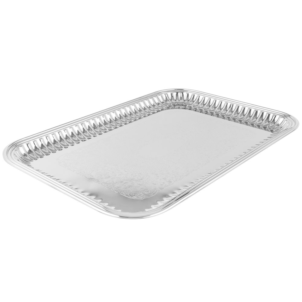 vollrath  esquire  x  rectangular fluted stainless  -  stainless steel tray main picture image preview