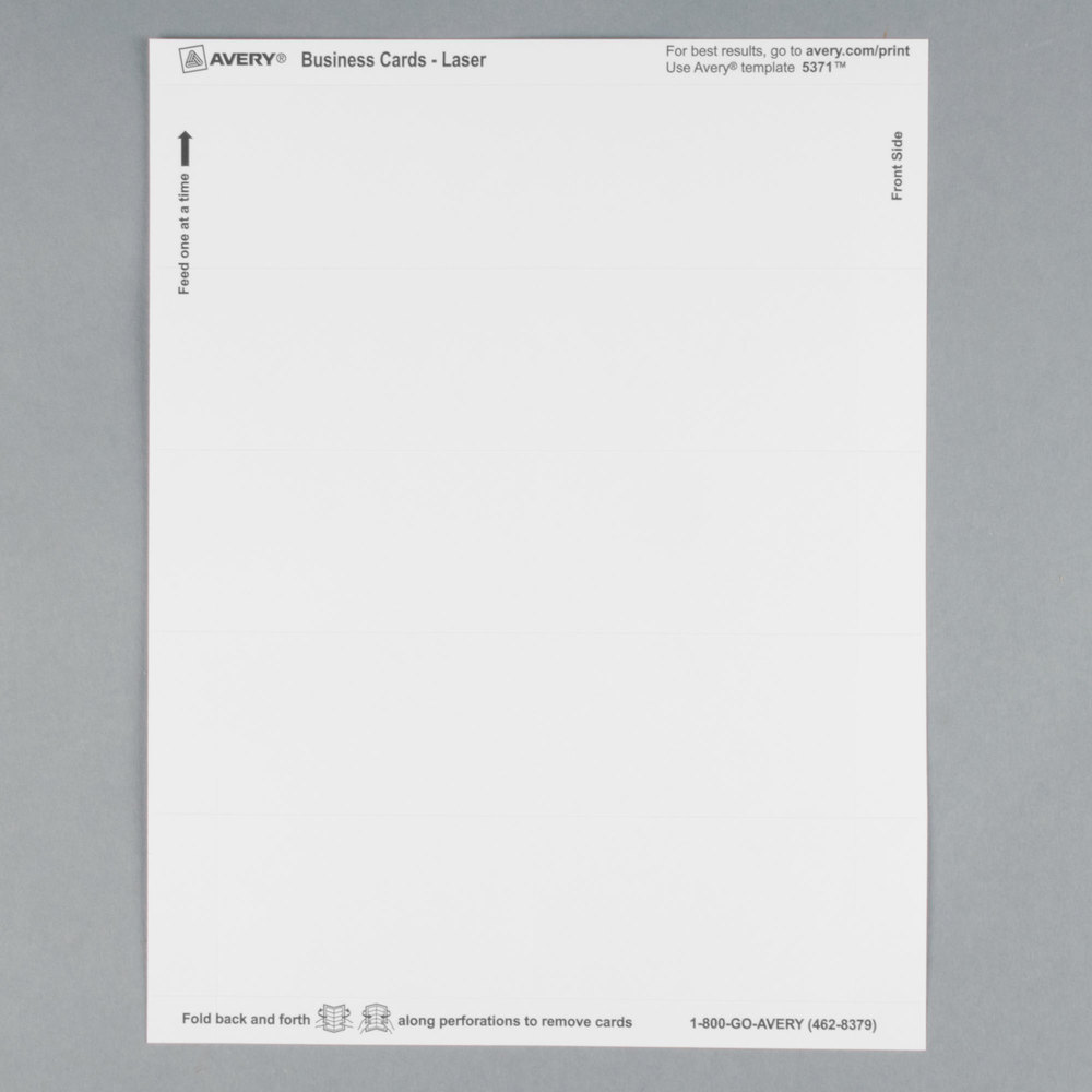 avery 5371 2 x 3 1 2 uncoated white microperf business cards