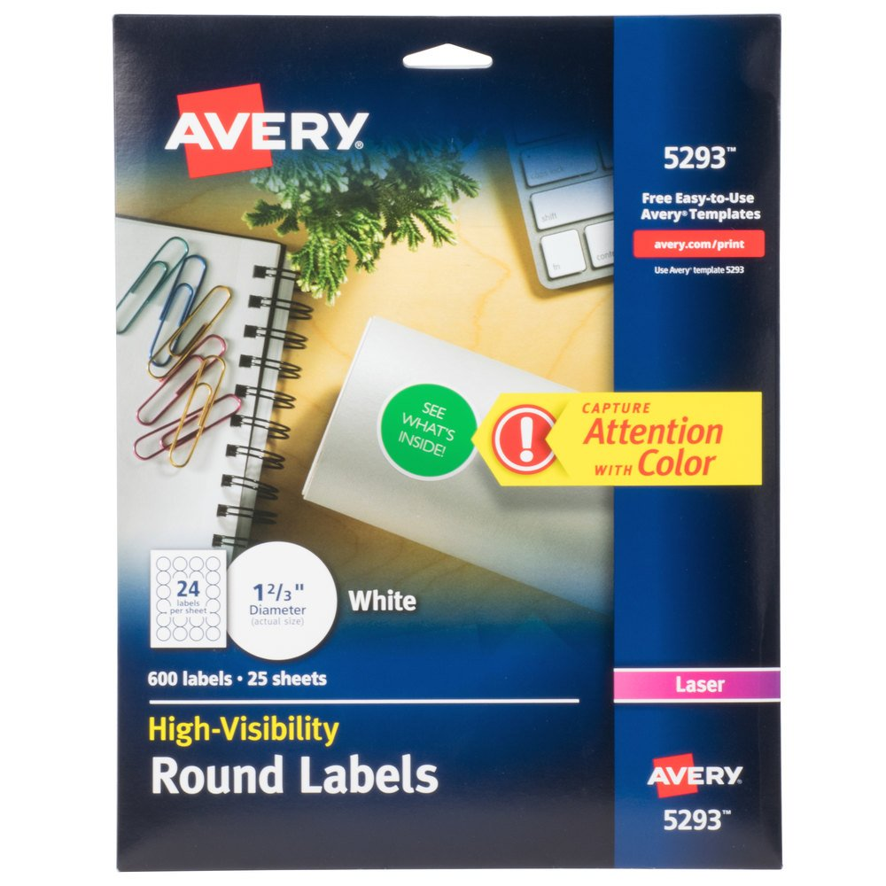 Avery 5293 1 2 3quot high visibility round white printable for Avery round label sizes