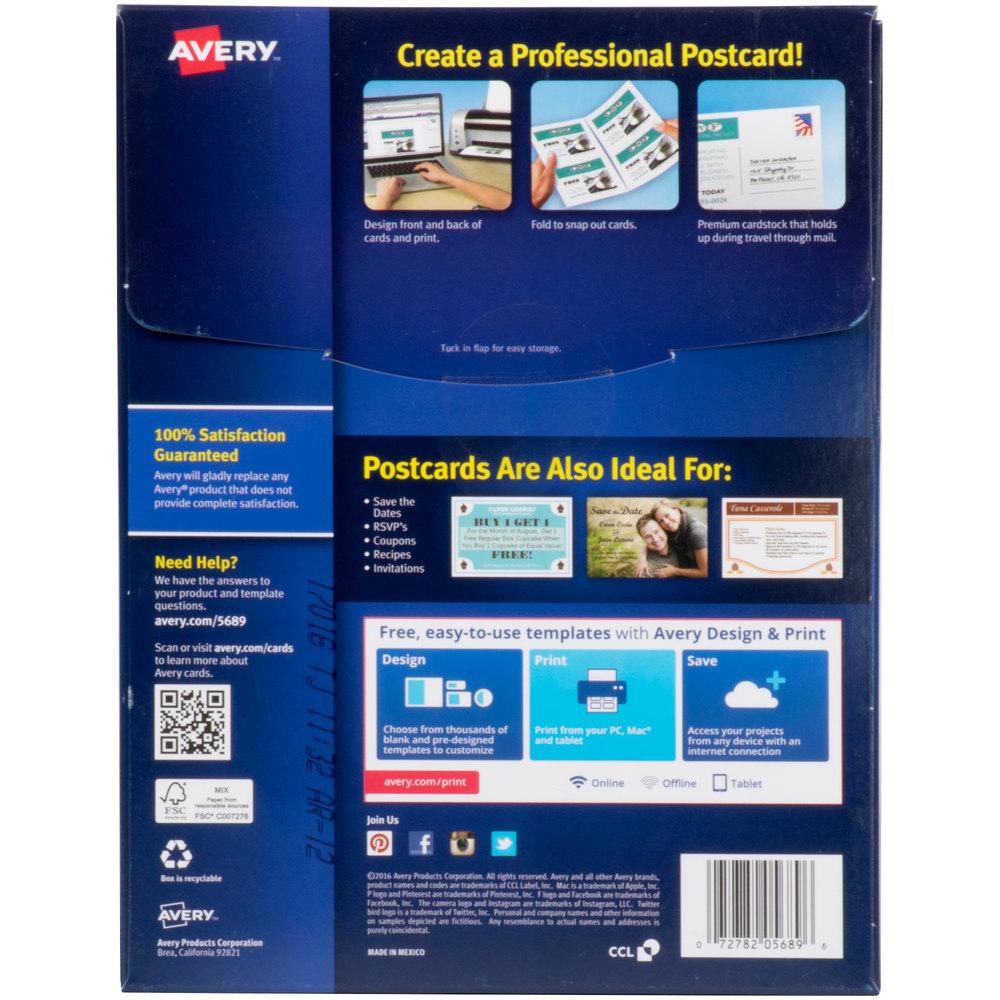 "Avery 5689 4 1/4"" X 5 1/2"" White Printable Postcards"