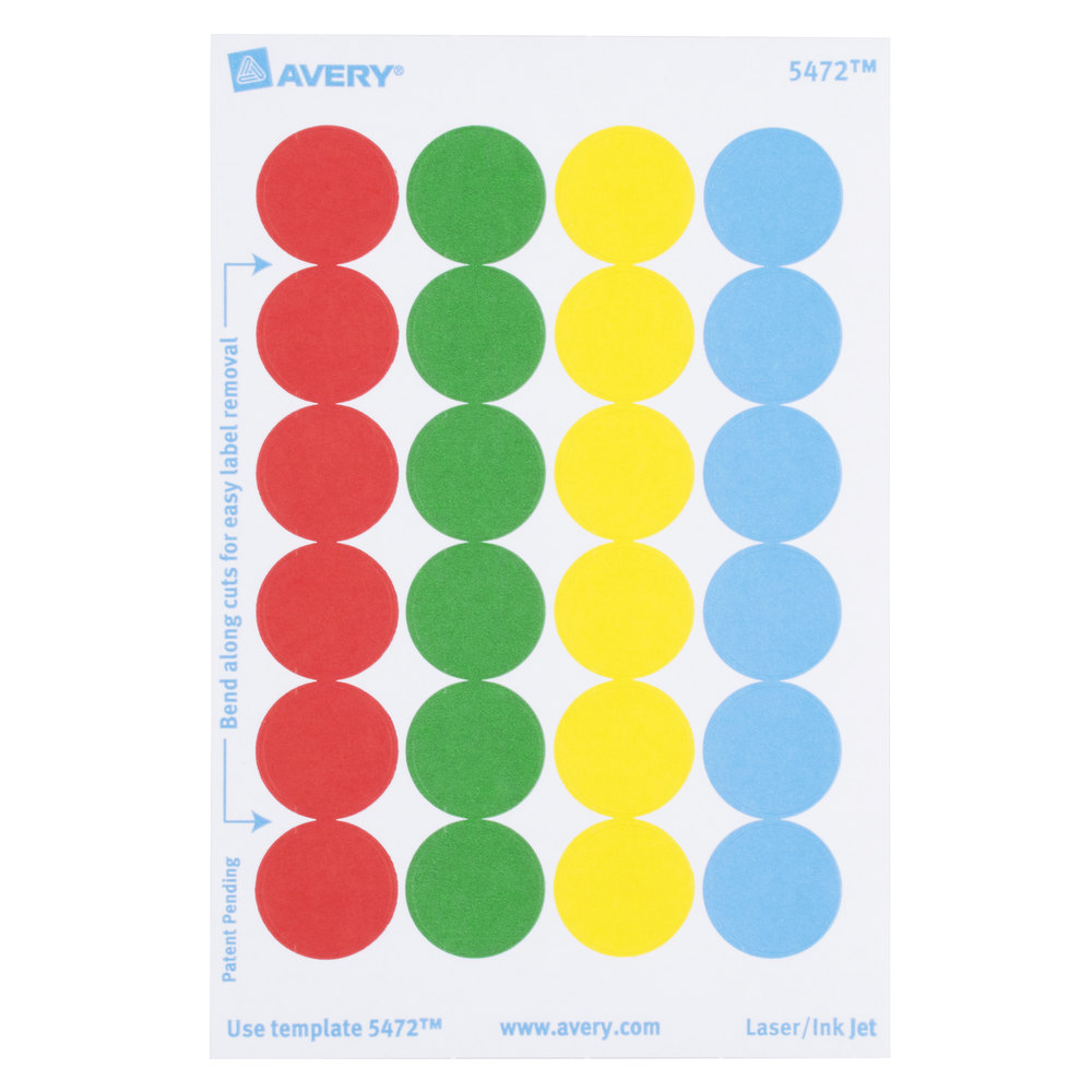 Avery 5472 3 4quot assorted colors round removable write on for Avery template 5472