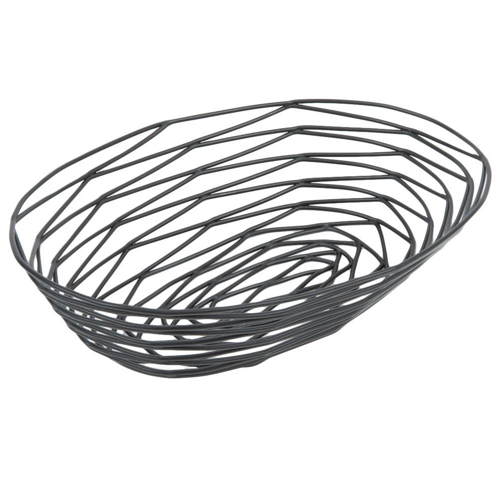 tablecraft bk11709 artisan oblong black wire basket
