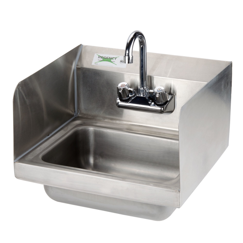 Regency 17 inch x 15 inch Wall Mounted Hand Sink with Gooseneck Faucet and Sidesplash