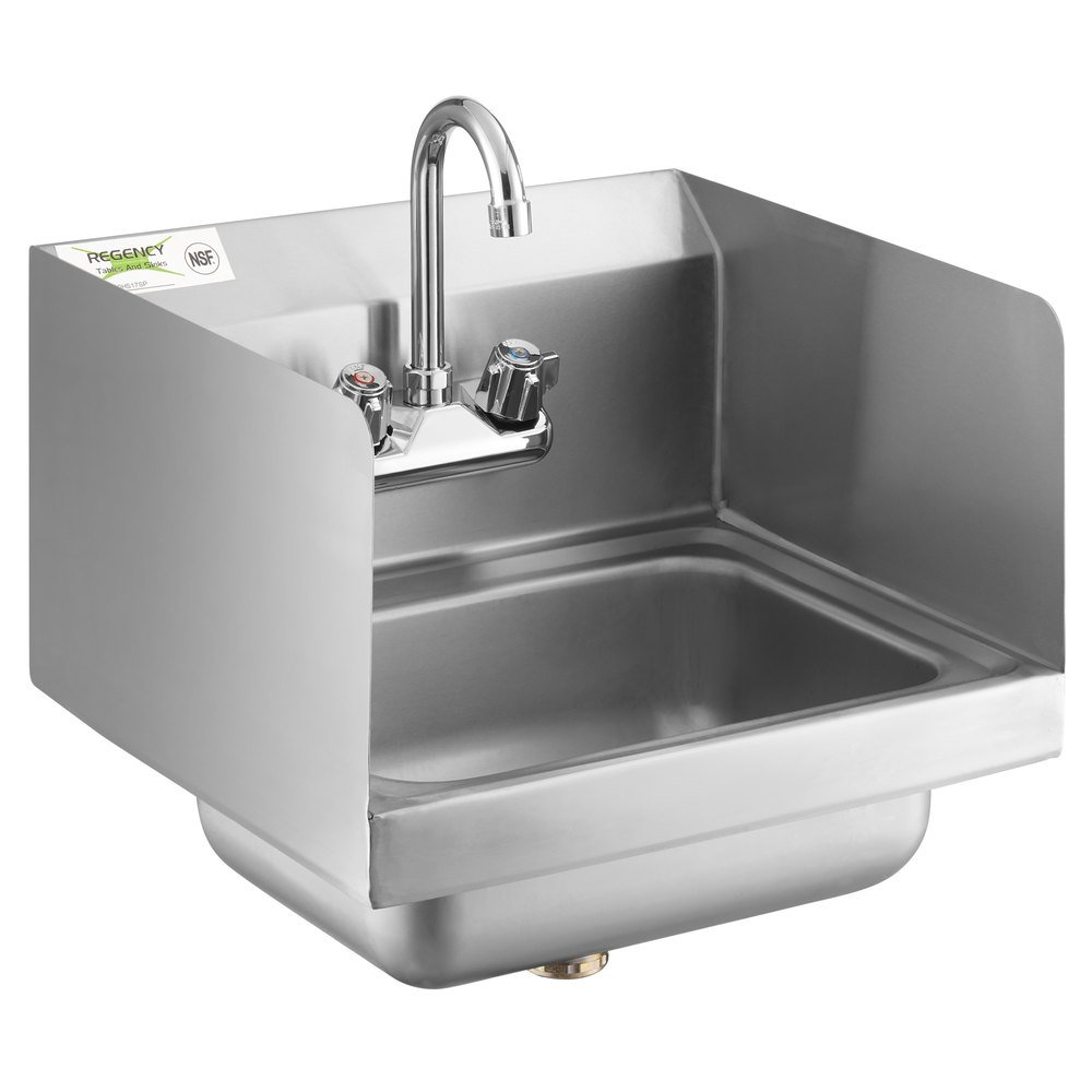 Regency 17 inch x 15 inch Wall Mounted Hand Sink with Gooseneck Faucet and Side Splash