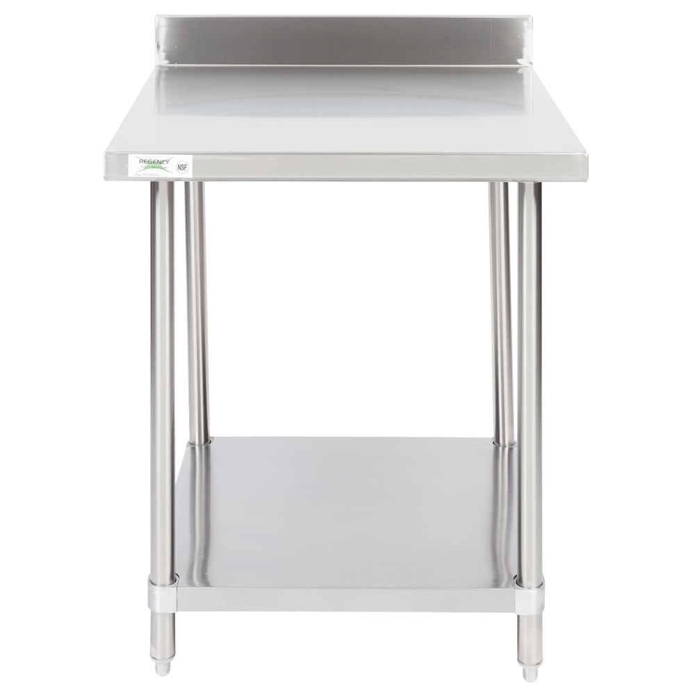 Regency 30 inch x 30 inch 16-Gauge Stainless Steel Commercial Work Table with 4 inch Backsplash and Undershelf