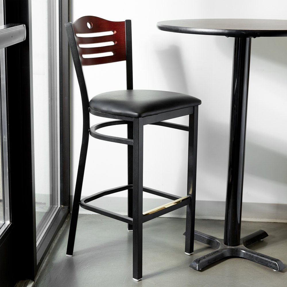 lancaster table seating mahogany finish bar height bistro chair with 2 padded seat. Black Bedroom Furniture Sets. Home Design Ideas