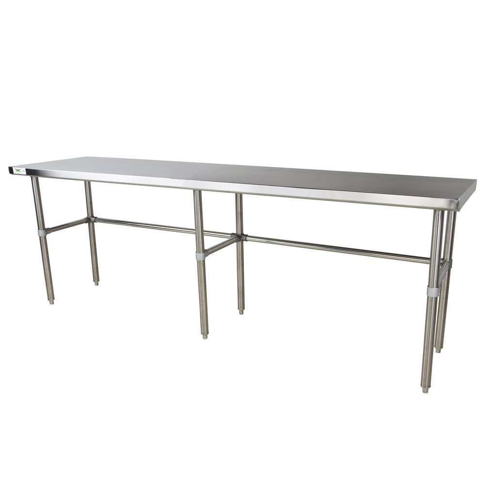 Regency 30 inch x 120 inch 16-Gauge 304 Stainless Steel Commercial Open Base Work Table