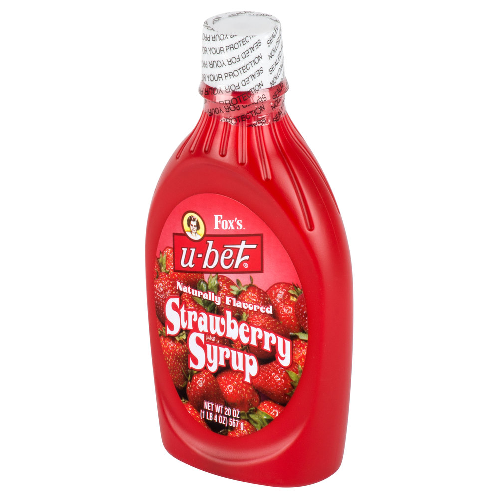 Fox's U-Bet Strawberry Syrup 20 oz. Squeeze Bottle
