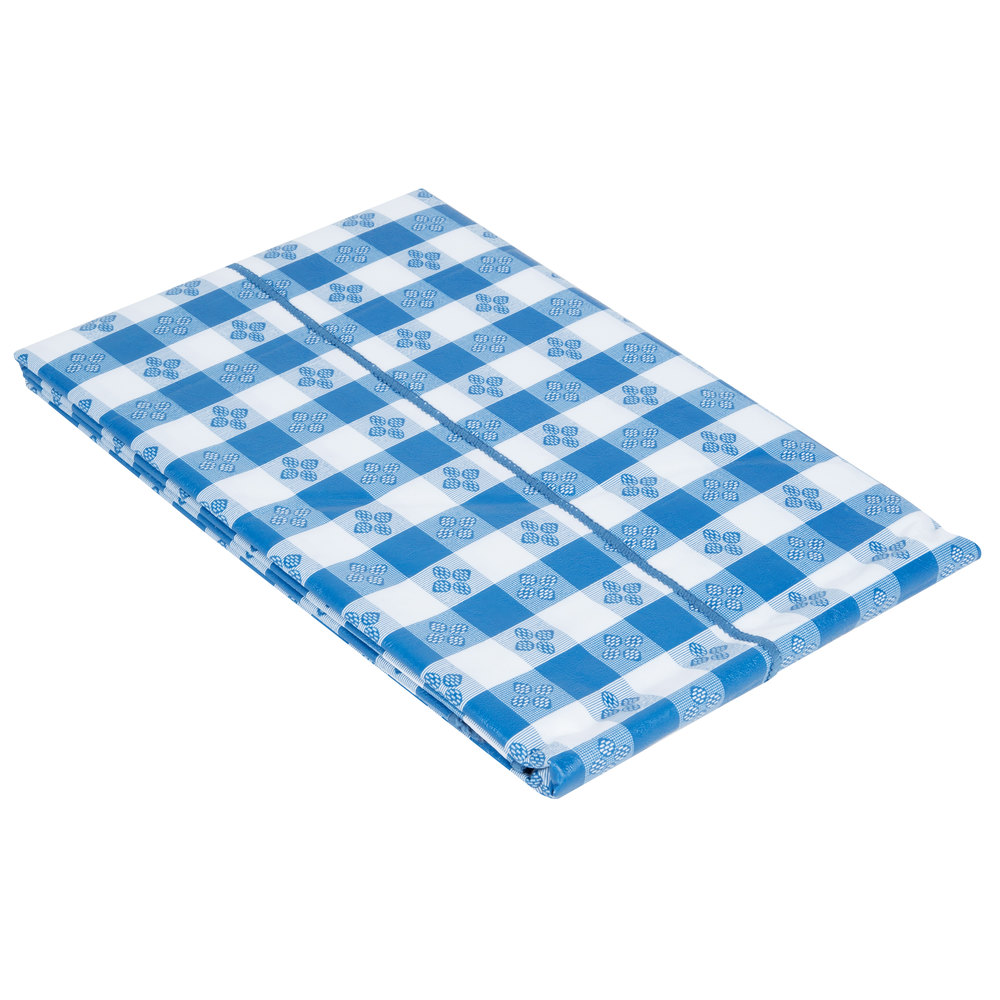 52 x 70 blue gingham vinyl table cover with flannel back for Table induction 70 x 52