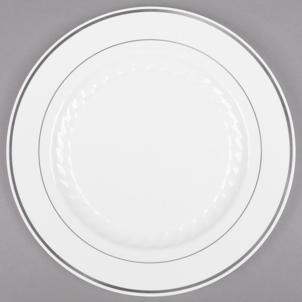 fineline silver splendor 506wh 6 inch white plastic plate with silver bands