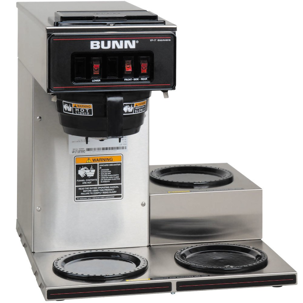 Bunn Industrial Coffee Maker Parts : Bunn 13300.0003 VP17-3 Low Profile Pourover Coffee Brewer with 3 Warmers
