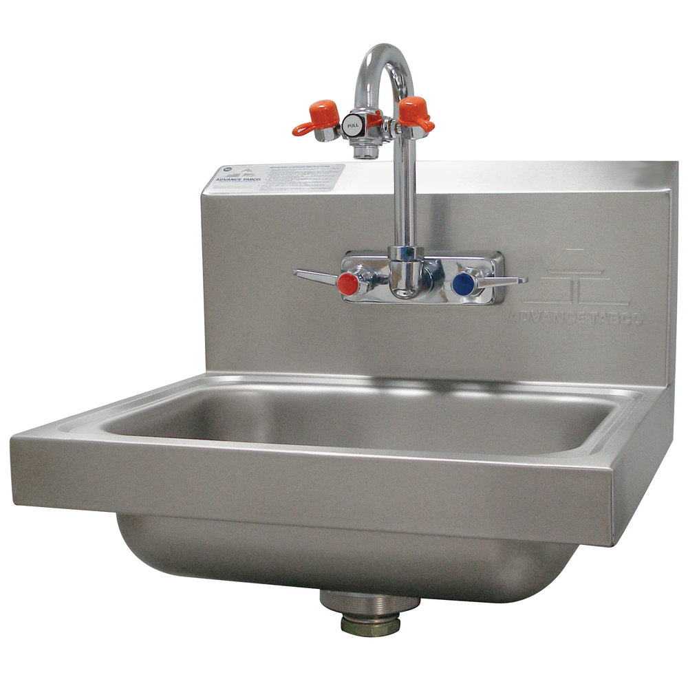 advance tabco 7 ps 55 hand sink with emergency eye wash attachment 17 - Hand Wash Sink