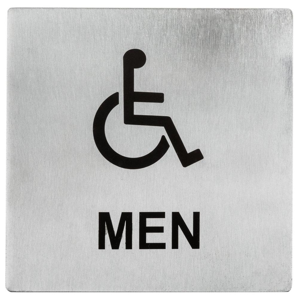 Tablecraft B20 Ada Handicap Accessible Men 39 S Restroom Sign Stainless Steel 5 X 5
