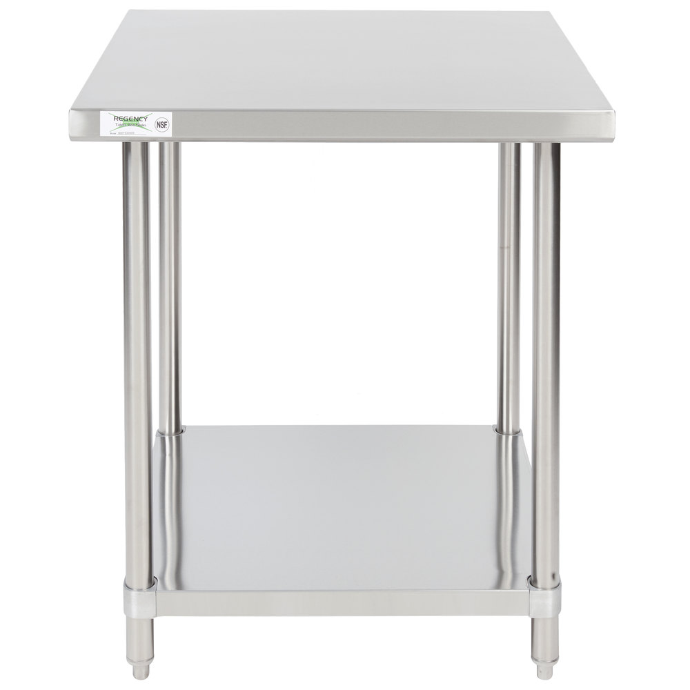 Regency 30 inch x 30 inch 16-Gauge 304 Stainless Steel Commercial Work Table with Undershelf