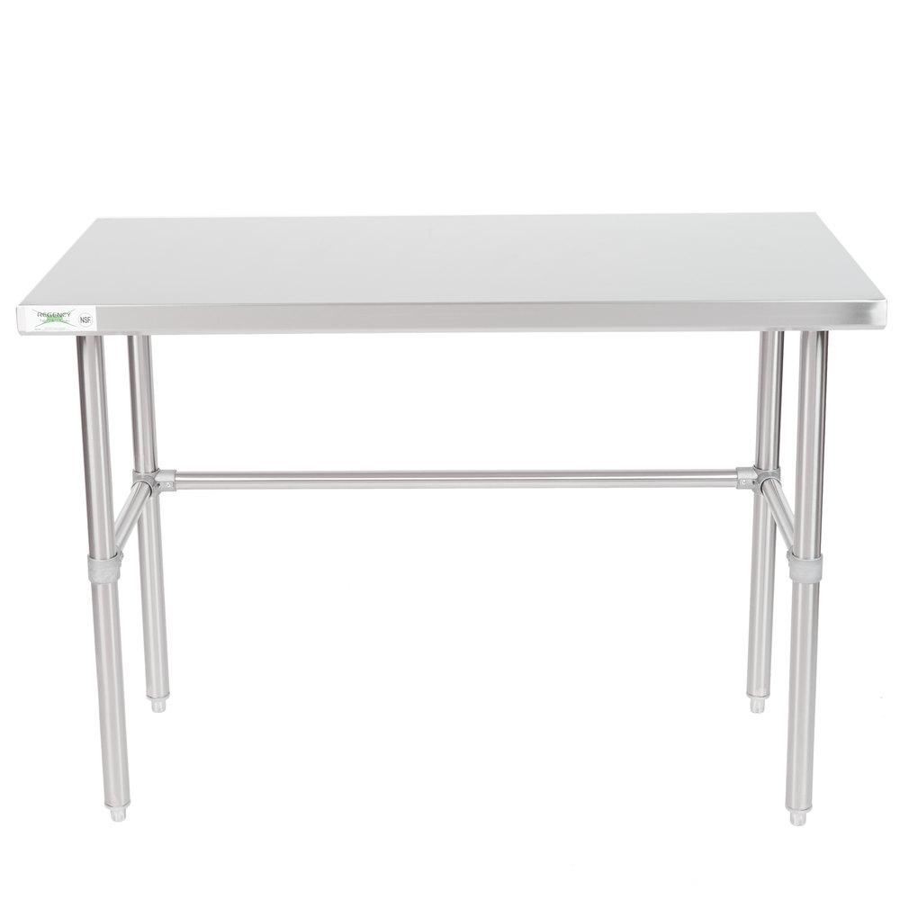Regency 24 inch x 48 inch 16-Gauge 304 Stainless Steel Commercial Open Base Work Table