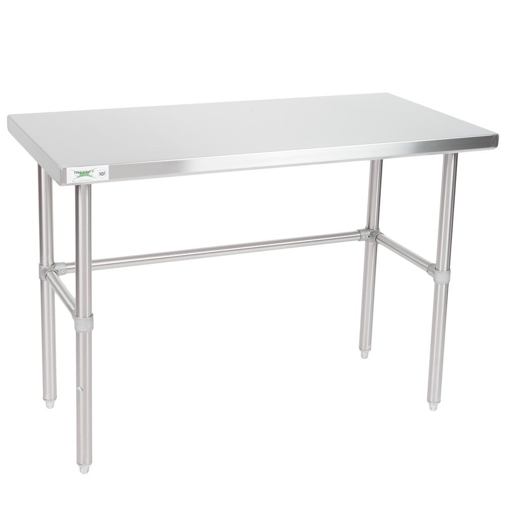 Regency 24 inch x 48 inch 16-Gauge 304 Stainless Steel Commercial Open Base Work Table