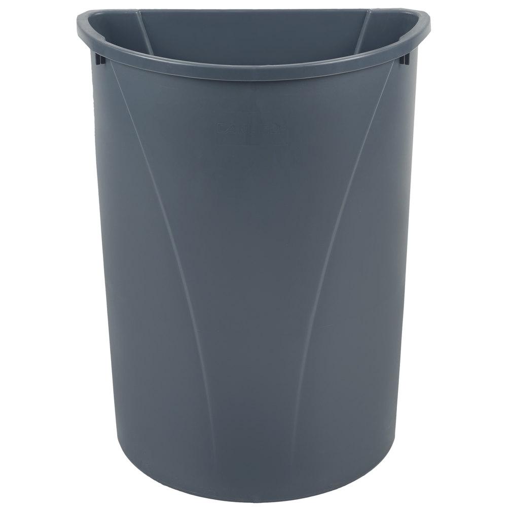 Carlisle 34302123 21 Gallon Centurian Gray Half Round Wall Hugger Trash Can