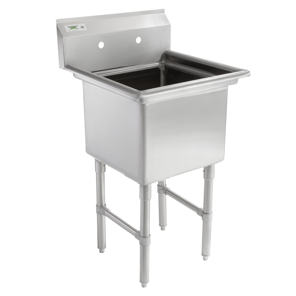 Regency 23 inch 16-Gauge Stainless Steel One Compartment Commercial Sink without Drainboard - 18 inch x 18 inch x 14 inch Bowl
