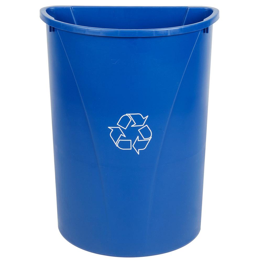 Carlisle 343021rec14 Centurian 21 Gallon Blue Half Round Wallhugger Recycling Trash Can