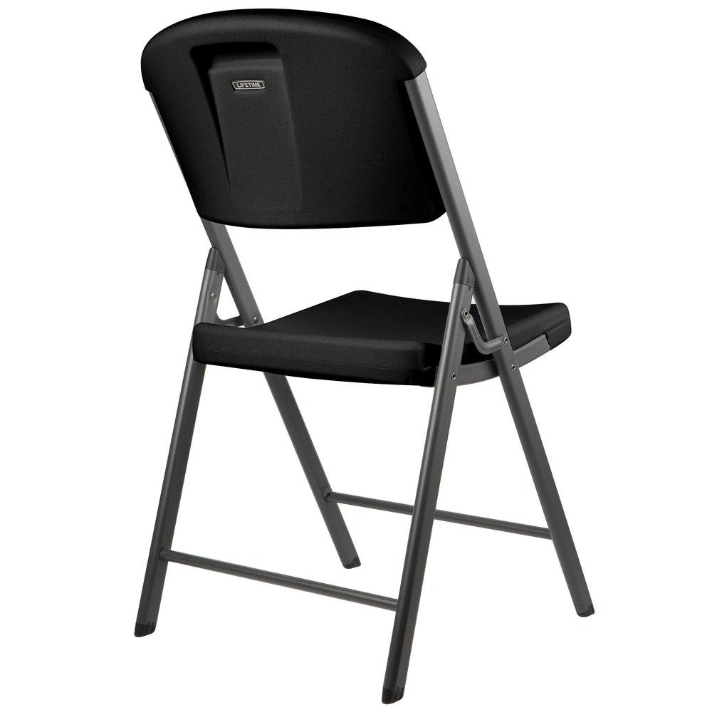 Lifetime 80187 Black Contoured Folding Chair 4 Pack