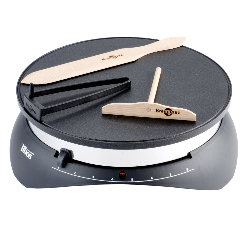 round black crepe maker with spreader and spatula
