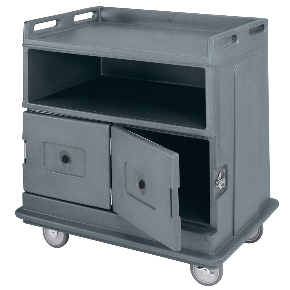 Cambro Mdc24191 Granite Gray Beverage Service Cart With 2