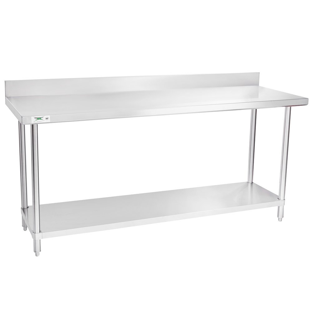 Regency 24 inch x 72 inch 16-Gauge Stainless Steel Commercial Work Table with 4 inch Backsplash and Undershelf