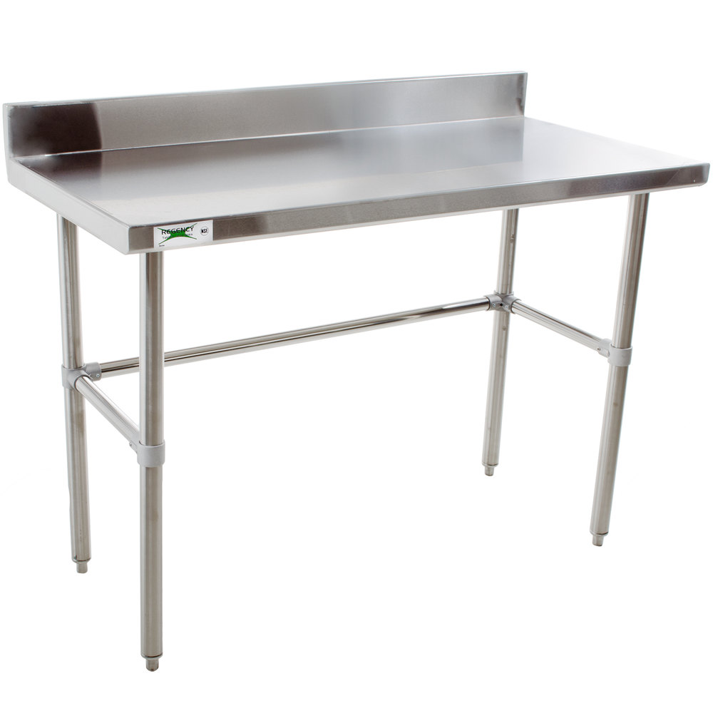 Regency 24 inch x 48 inch 16-Gauge 304 Stainless Steel Commercial Open Base Work Table with 4 inch Backsplash