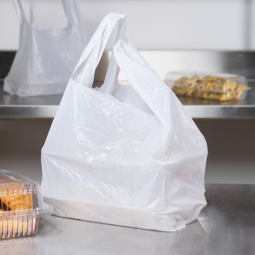 1 6 size white t shirt bag 1000 case for Jumbo t shirt bags