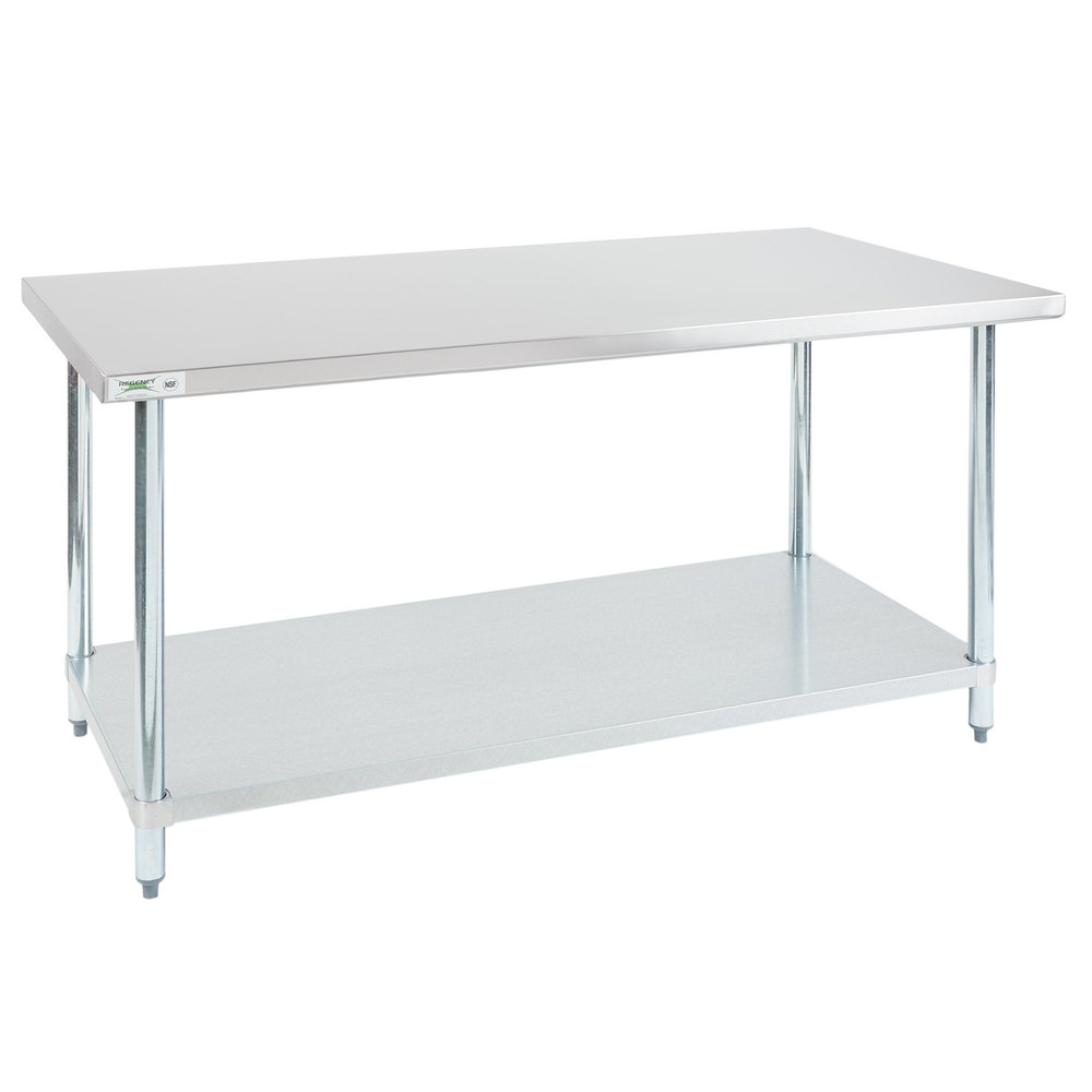 Regency 30 inch x 60 inch 18-Gauge 304 Stainless Steel Commercial Work Table with Galvanized Legs and Undershelf
