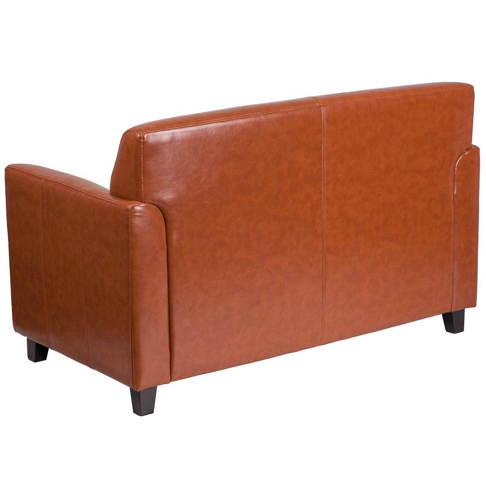 Flash Furniture Bt 827 2 Cg Gg Hercules Diplomat Cognac Leather Loveseat With Wooden Feet