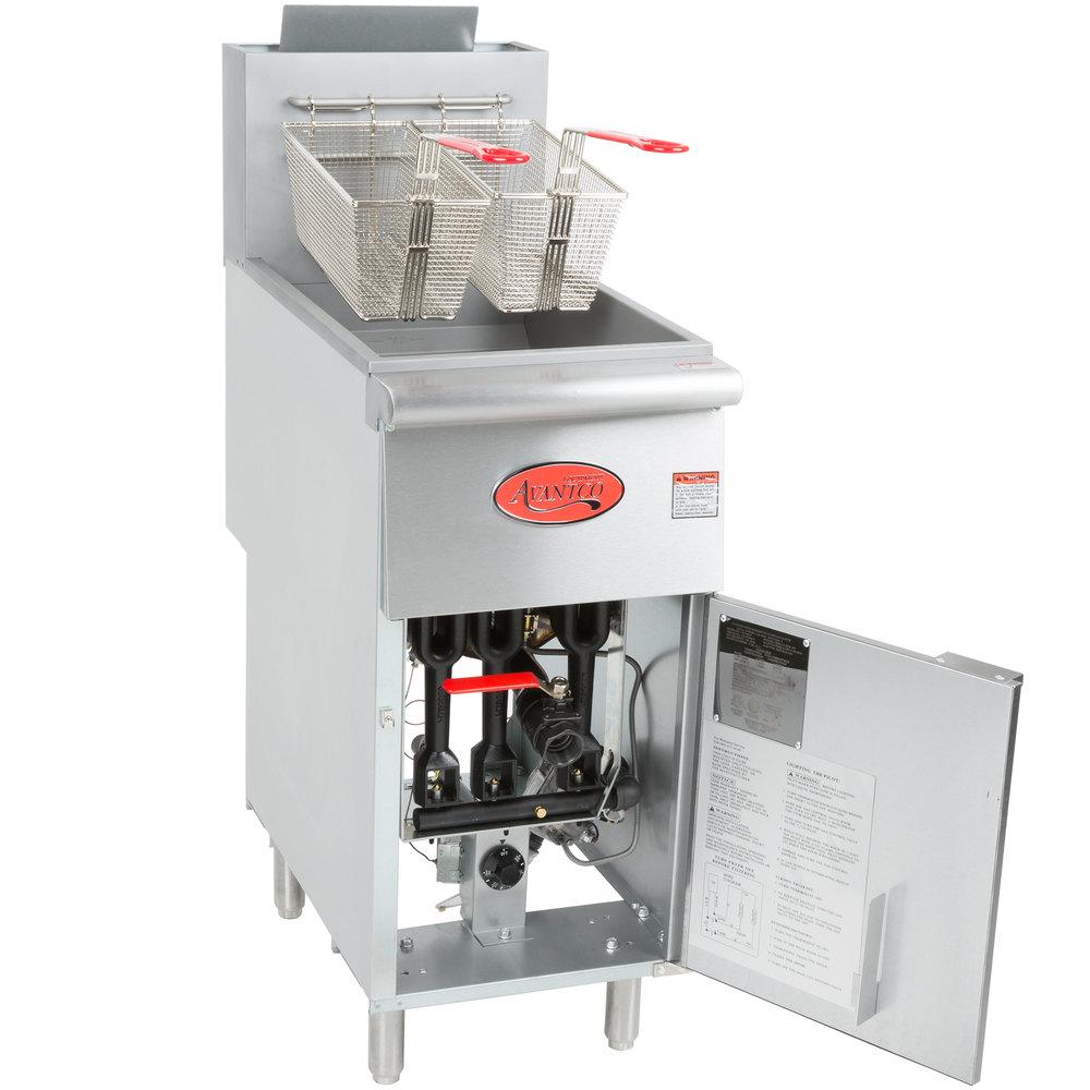 Avantco Ff300 Natural Gas 40 Lb Stainless Steel Floor Fryer