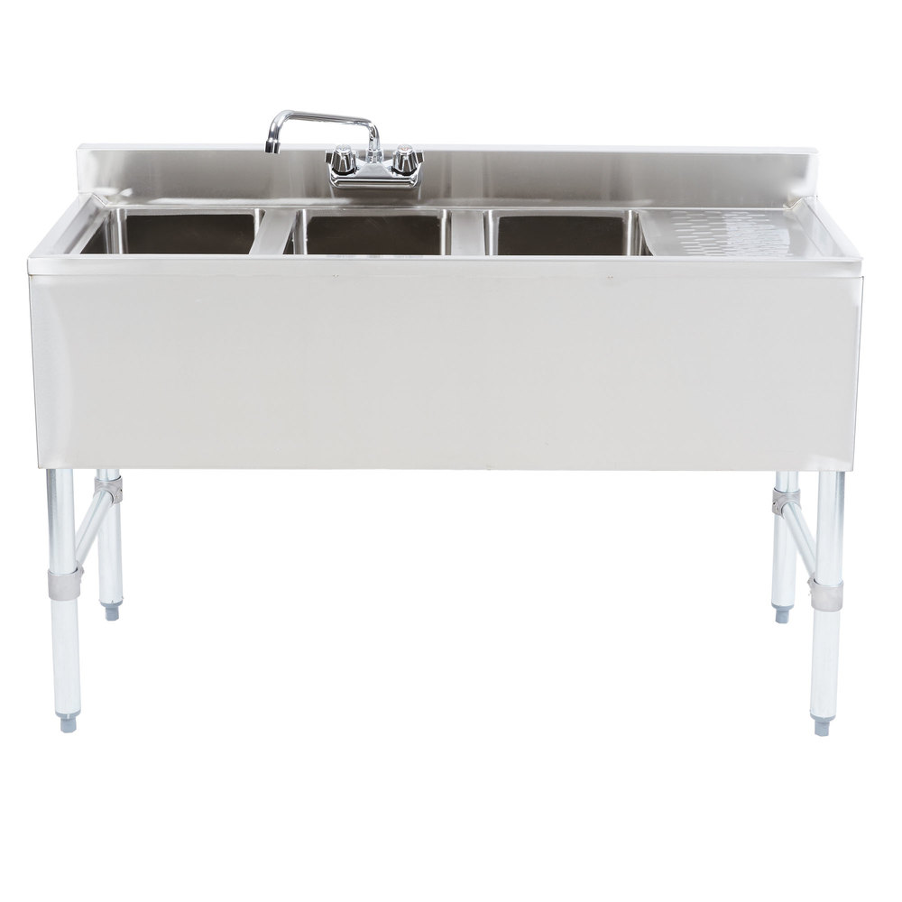 Right Drainboard Regency 3 Bowl Underbar Sink with Drainboard and Faucet - 48 inch x 18 3/4 inch