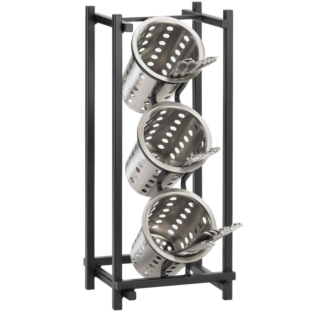 Cal mil 1134 13 black one by one three compartment metal for Vertical silverware organizer
