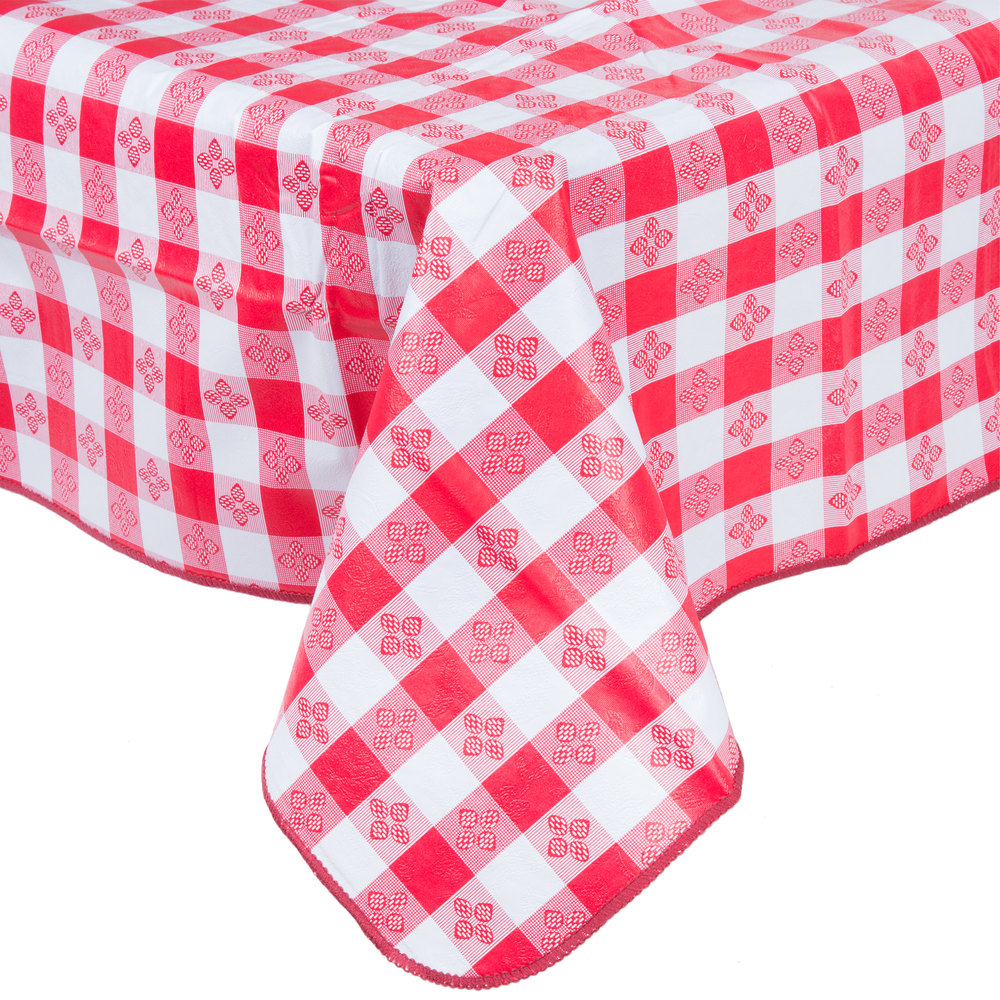 52 Inch X 52 Inch Red Gingham Vinyl Table Cover With Flannel Back ...