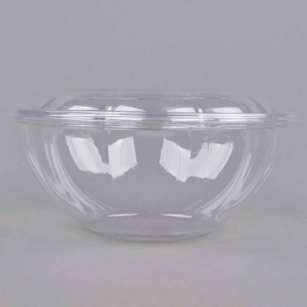 eco products ep sb24 24 oz clear compostable plastic salad bowl with lid 50 pack. Black Bedroom Furniture Sets. Home Design Ideas
