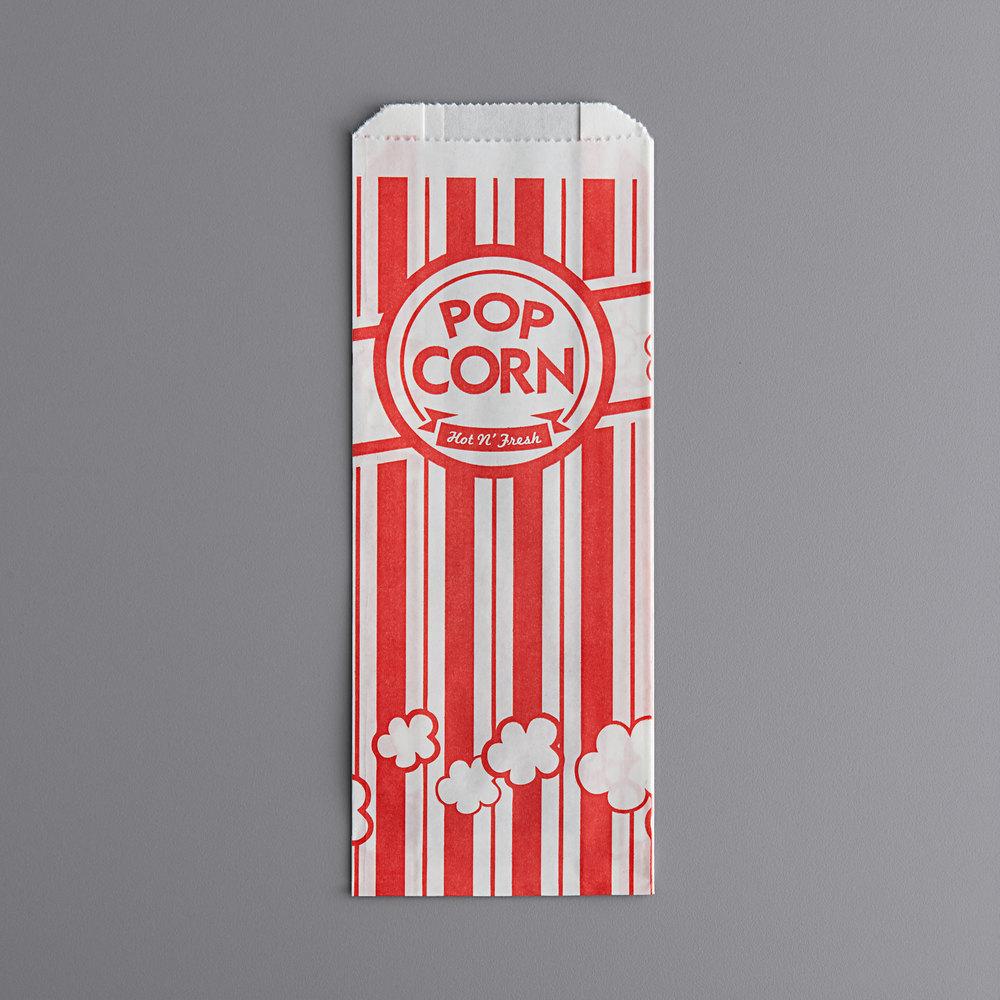Carnival King 3 3/4 inch x 1 3/4 inch x 9 1/2 inch 1.1 oz. Popcorn Bag - 100/Pack