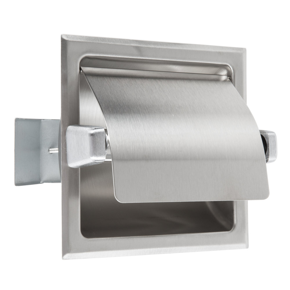 Bobrick b 6697 recessed toilet tissue dispenser with stainless steel hood and satin finish - Stainless steel toilet paper dispenser ...