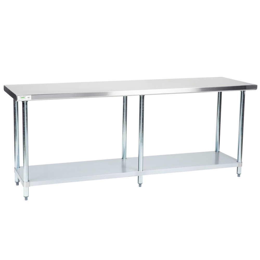 Regency 24 inch x 84 inch 18-Gauge 304 Stainless Steel Commercial Work Table with Galvanized Legs and Undershelf